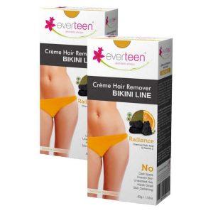 Everteen RADIANCE Bikini Line Hair Remover Creme with Charcoal Kojic Acid and Vitamin C 2 Packs 50gm Each 5