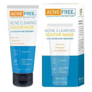 Acne Free Sulfur Mask 50Ml Acne Treatment For Clearing Acne Absorbing Excess Oil And Unclogging Pores With Vitamin C And Bentonite Clay