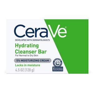 CeraVe Hydrating Cleansing Bar 4.5 Oz Non Soap Alternative For Daily Body And Facial Washing Dry To Normal Skin