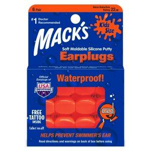 Macks Kids Size Soft Silicone Small Ear Plugs Orange