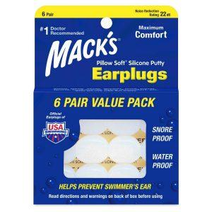 Macks Silicone Earplugs White 6 Pair